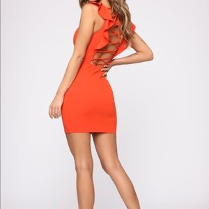 Fashion Nova Orange Lace to the Chase Mini Dress
